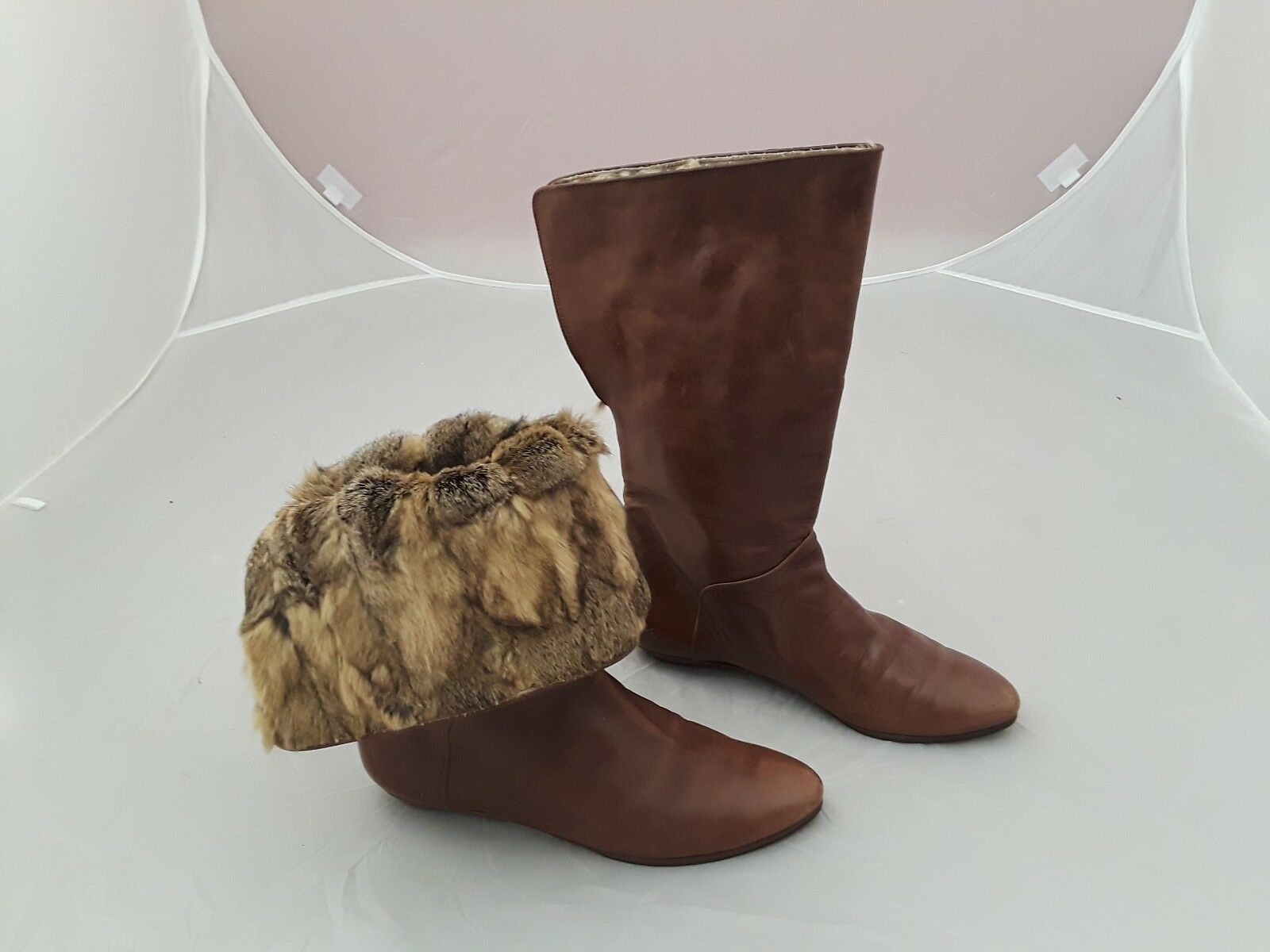 Vtg EL VAQUERO Brown Leather Real Fur Multi-Way Look Boots Sz 38 (US 7.5)
