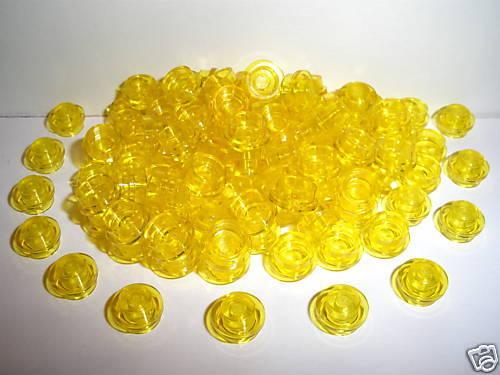 10 x LEGO® 30057 Platten 1x1 transparent rund neon gelb wie auf dem Foto.