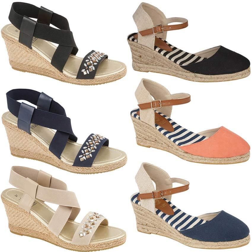 LADIES SUMMER WOMENS CANVAS ESPADRILLES WEDGE SHOES SUMMER LADIES DRESS STRAPPY SANDALS SIZE c6d759