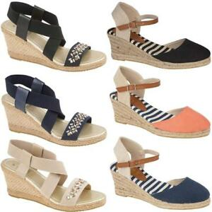 LADIES-WOMENS-CANVAS-ESPADRILLES-WEDGE-SHOES-SUMMER-DRESS-STRAPPY-SANDALS-SIZE
