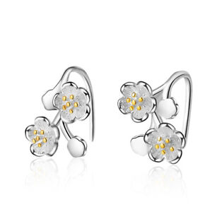 NEW-Solid-925-Sterling-Silver-Cherry-Blossoms-Clip-On-Cuff-Earrings-No-Piercing