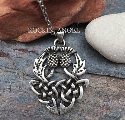 925 Antique Silver Plt Thistle Celtic Knot Pendant Necklace  Scottish Outlander