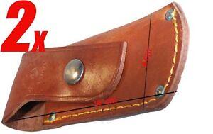 2x-Lakota-Leder-Jagdmesser-Tasche-Messerscheide-Messeretui-Messerholster-bra-ova