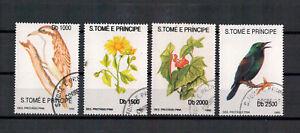 Sao-Tome-et-Principe-Flora-Oiseaux-Minr-1330-1335-1992-Used