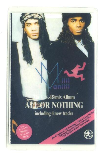 Milli Vanilli - All or Nothing - Konzert-Pass 1989 - laminiert  - Sammlerstück