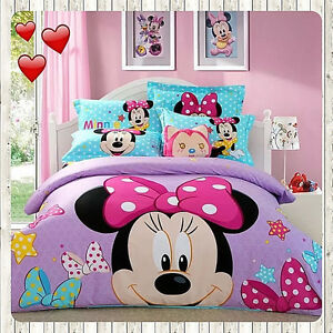 Minnie Mouse Bedding Set Cartoon Bedclothes Covers 3 4 Pcs