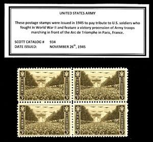 1945 - UNITED STATES ARMY - Vintage Mint -MNH- Block of Four Postage Stamps