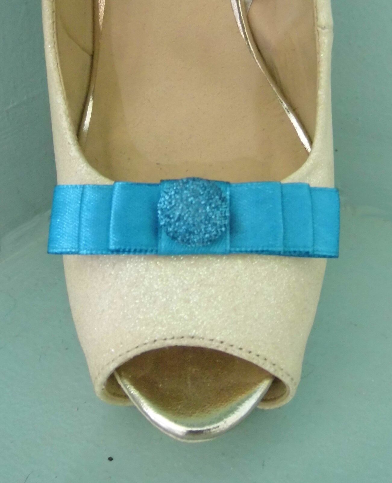 2 Small Turquoise Bow Clips for Shoes with Glittery Button Centre