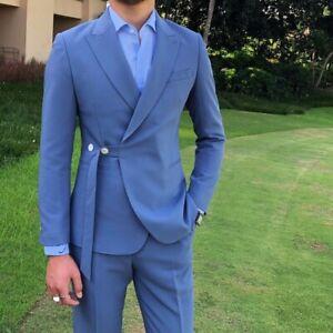 Men/'s Two Button Suit 2pcs Blazer jacket Slim Fit Business Formal Dress Prom L