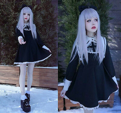 Gothic Lolita Harajuku Darkness Style Sister Corss Dress Fake Collar Lace Cute