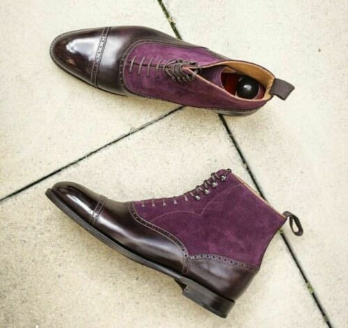 Handmade Purple genuine Suede /& Brown Leather dress Ankle Boots for Men/'s