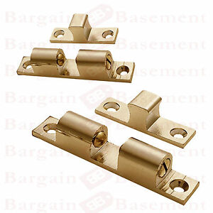 Set Of 2 SOLID BRASS DOUBLE BALL CATCH Door Cupboard Roller Latch Small  Large - SHEFFORD, United Kingdom - Set Of 2 SOLID BRASS DOUBLE BALL CATCH Door Cupboard Roller Latch Small  Large - SHEFFORD, United Kingdom