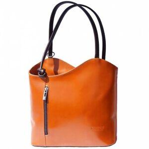 Ladies Womens VERA PELLE Real Italian Leather Shoulder Bag Convertible Backpack