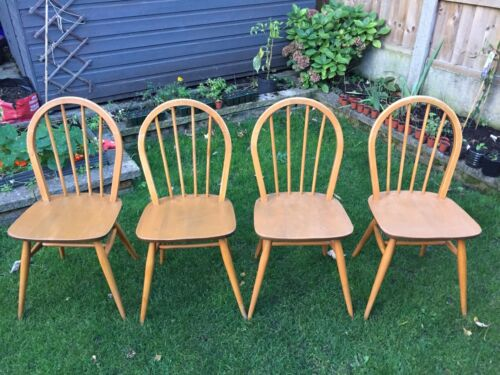 Set Of 4x ERCOL 400 Windsor Solid Elm & Beech Hoop Back Dining Chairs