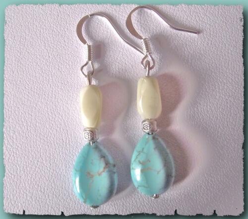 BOUCLES D/'oreilles Perles de Howlite Turquoise /& métal argenté Earring