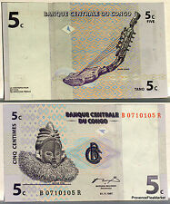 CONGO billet neuf 5 centimes Harpe Zande Pick81  ancien ZAIRE SUKU masque 1997
