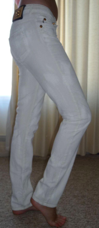 NEW  JUST CAVALLI Slim Jeans Italian Designer White on White splash Sz-29 6