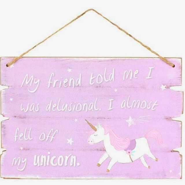 Purple Unicorn Wall Plaque Shabby Chic Door Window Home Hanging Sign Gift
