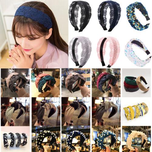 Retro Women Lace Headband Hair Band Twist Crystal Wide Headwrap Hoop Accessories