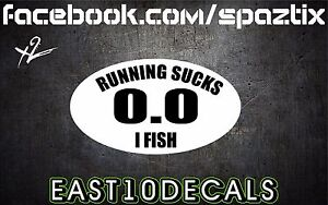 Running-Sucks-I-Fish-vinyl-decal-sticker-TROUT-bass-shark-bumper-sticker-2pc