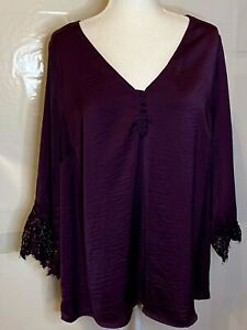 Torrid-Royal-Purple-Silky-V-Neck-Top-With-Decorative-Buttons-And-Lace-Size-2