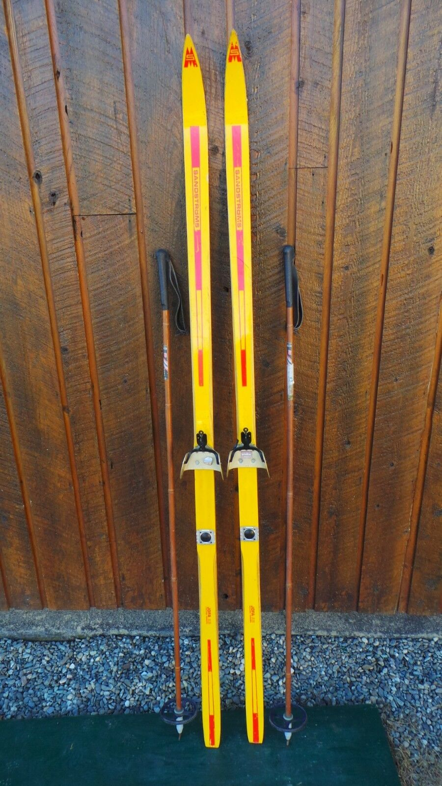 Vintage Wooden 70  Long Skis YELLOW and RED Finish Signed SANDSTROMS + Poles