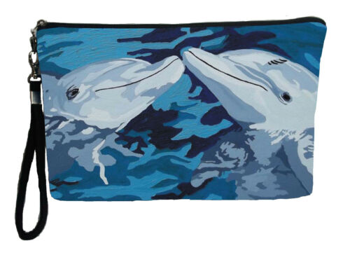 Details about  /Dophin Pouch Wristlet with detachable strap The Kiss From my orginal Painting