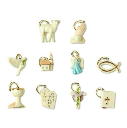 LENOX Tree of Faith 10 mini Tree Ornaments set NEW in BOX miniature Religious