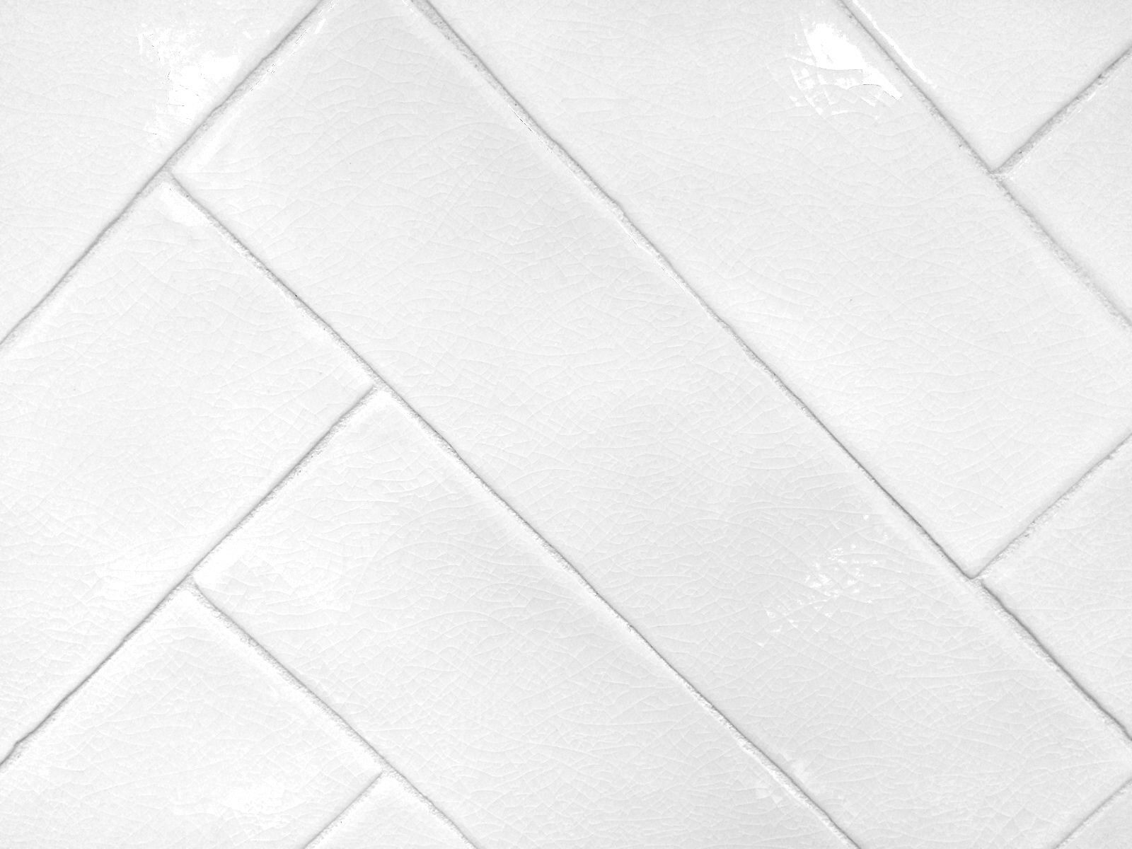 - 3x12 Handmade White Crackled Glaze Ceramic Tile Backsplash Decor