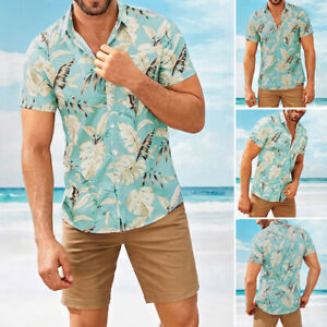 Men-039-s-Short-Sleeve-Casual-Shirts-Hawaiian-Vacation-Button-Up-Tops-Tee-Blouse
