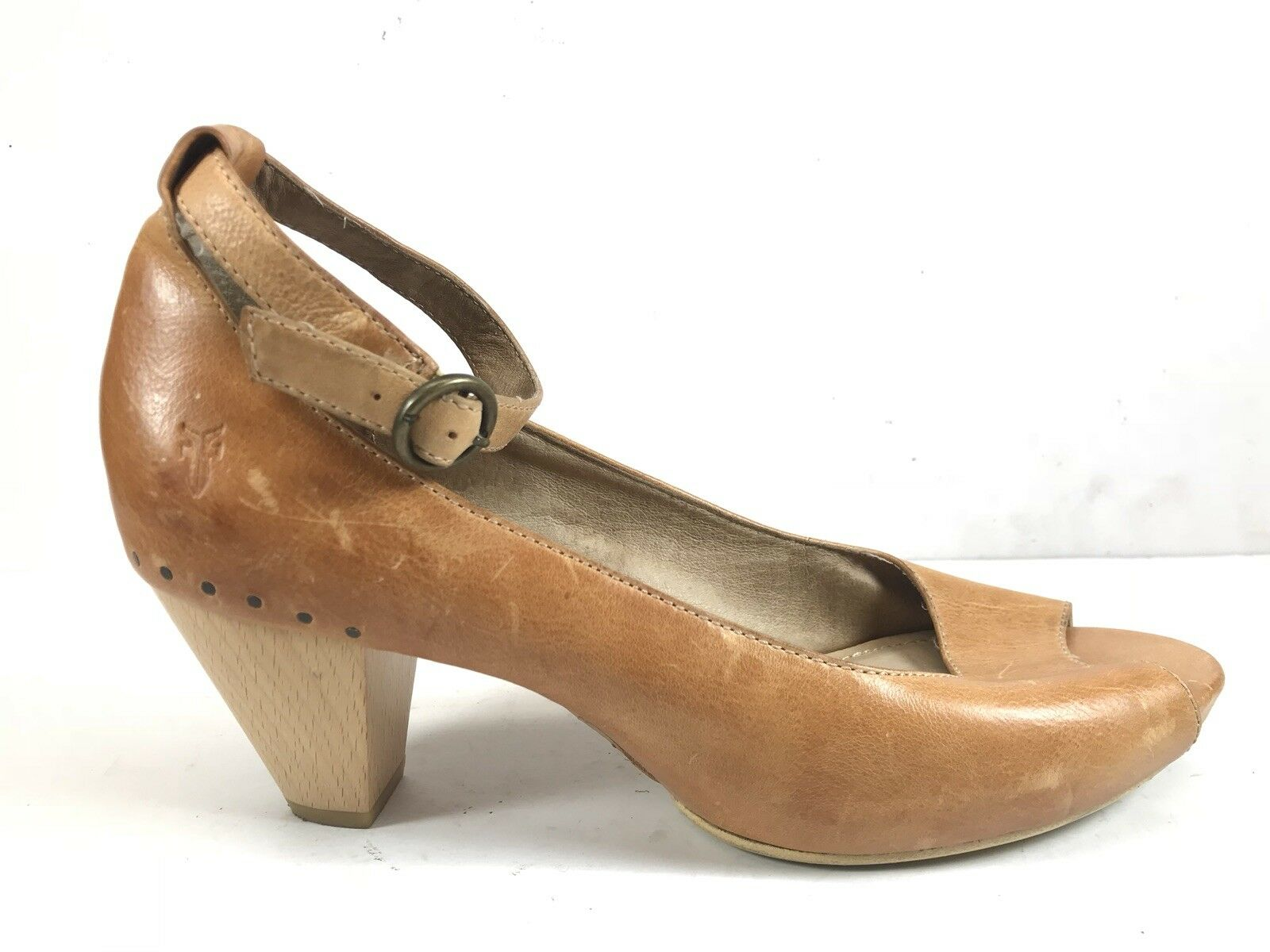 Frye Coral Ankle Strap Brown Leather Peep Toe Pumps Women's US 10 M