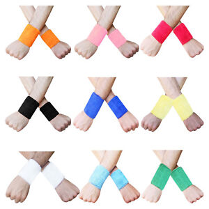 Sweat-Wrist-Band-3-5-034-inch-Sport-Aerobics-Wristbands-Multi-Colors-Pair