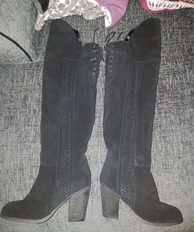 Moda in pelle garone over knee Stiefel schwarz suede uk 5