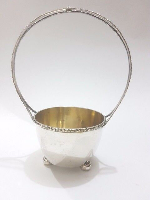 vintage silver basket with handle ornate bowl decor decoration