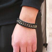 Mens Brown or Black Cool Genuine Leather Twisted Wrap Bracelet Wristband Cuff