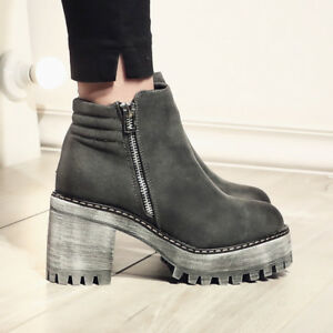Womens-Chunky-High-Heels-Platform-Side-Zipper-Solid-Color-Round-Toe-Boots-C65