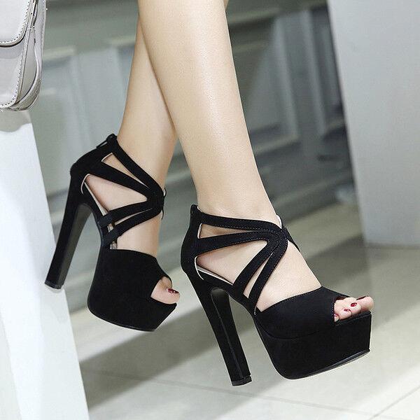 Sandali stivali eleganti tacco plateau  14 cm nero simil pelle eleganti 9925