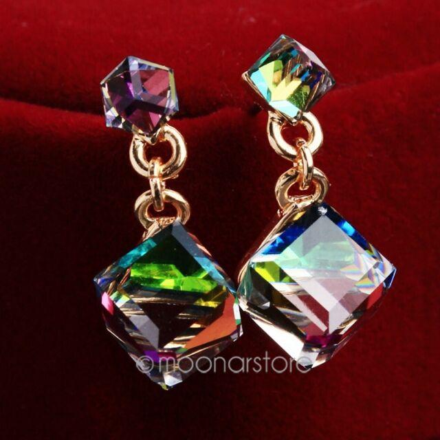 1 Pair Fashion Elegant Women Lady Crystal Rhinestone New Square Ear Stud Earring