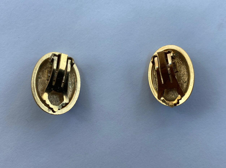 VINTAGE LANVIN CABOCHON EARRINGS BLUE STONE GOLD … - image 3