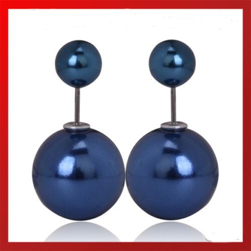 XL Doppel zwei Perlen Ohrringe Shamballa double Strass Zirkonia Gold Ohrstecker