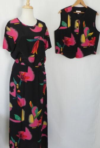 3pc color Size Vest Vtg Gantos L Suit Multi top skirt Rayon xl Skirt 5wXvw
