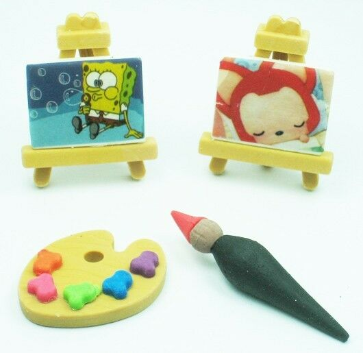 WACKY erasers collectible rubber PUZZLE painting board brush color palette
