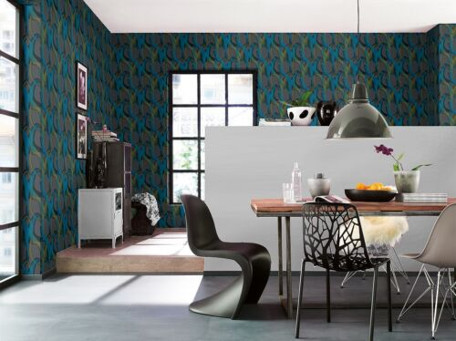 BLACK BLUE ANTHRACITE TEXTURED QUALITY FEATURE DESIGNER WALLPAPER 727012 RASCH