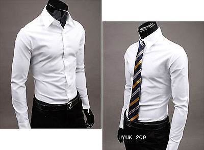 Luxury Mens Stylish Casual Dress Shirt Slim Fit T-Shirts Formal Long Sleeve Hot