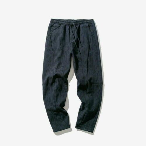 Men Cotton Linen Harem Pants Trousers Casual Ethnic Vintage Tapered Loose Stripe