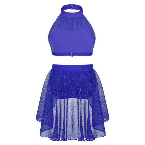 Toddler Kids Girls Dance Wear Outfit Ballet Jazz Crop Tops+Skirt Bottoms Costume