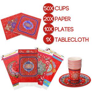 Ramadan-Kareem-Tableware-Sets-Eid-Mubarak-Muslim-10x-Plates-50x-Cups-20x-Napkins