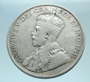 1918-CANADA-Newfoundland-UK-King-George-V-Genuine-SILVER-50-CENTS-Coin-i78355