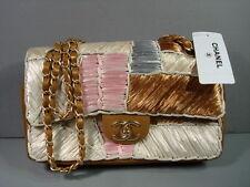 Chanel Bronze Leather Raffia Patchwork 2.55 Medium Flap Bag Handbag Purse NEW
