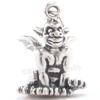 3D GARGOYLE Solid 925 Sterling Silver HALLOWEEN Pendant .925 Charm Great Detail!